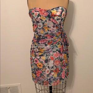 Yumi Kim Floral Strapless 100% Silk Dress Small S